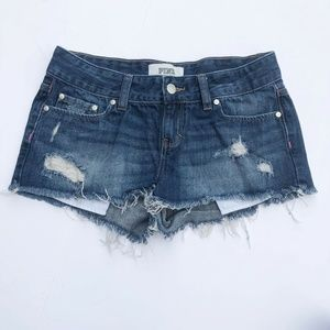 PINK Distressed Denim Shorts Size 4 Frayed